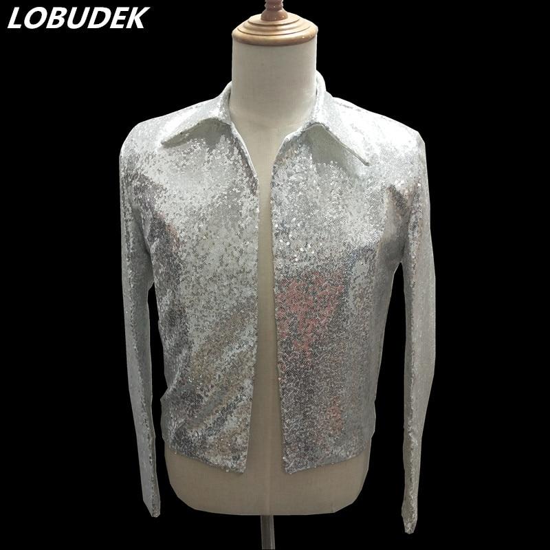Silvery Sequins Jacket Fashion Slim Short Coat Men Singer Nightclub Clothing Bar Concert Performance Costume Host Stage Blazers