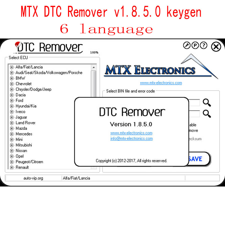 US $8 9 |2017 MTX DTC Remover 1 8 5 0 with keygen 6 Language Use to Remove  or Disable DTCs for Different Cars ODB M BUS Car-in Software from