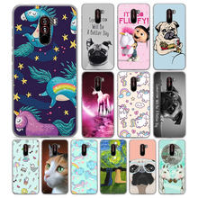 Bonito Pug dog rainbow Unicorn para Pocophone F1 (6.18 polegada) hard case Telefone PC para Poco F1 mobile phone bag capa Fundas Coque(China)