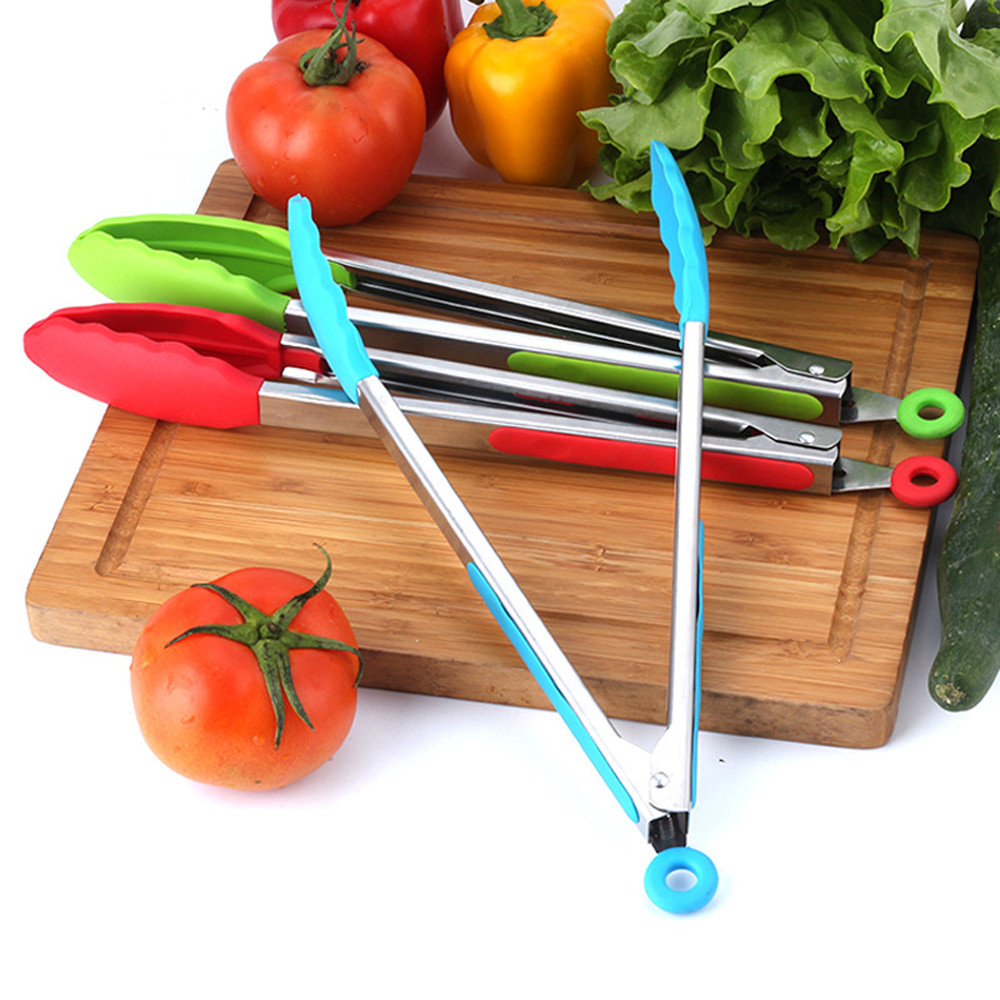 2017 Silicone Kitchen Cooking Salad Serving BBQ Tongs Stainless Steel Handle Utensil 12-inch silicone food folder barbecue clip