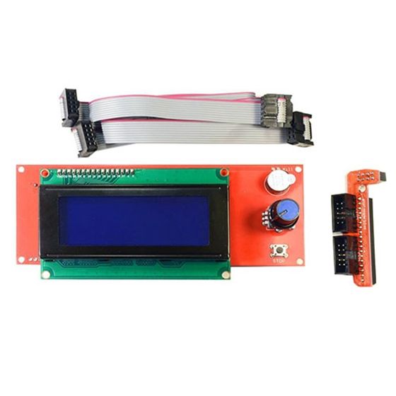 PPYY NEW -2004 LCD Smart Display Controller Module with Adapter for 3D Printer Controller RAMPS 1.4 Arduino Mega Red