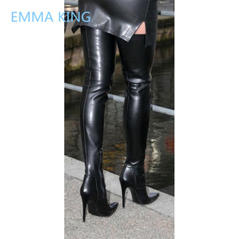 2019 Black Leather Women Thigh High Punk Boots Pointed Toe Sexy High Heels Ladies Winter Gothic Shoes Woman Over The Knee Boots