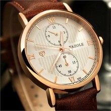 YAZOLE Lumineux Hommes Montre De Luxe Top Marque d'affaires Homme Horloge À Quartz-Montre-Bracelet de Loisirs De Mode En Cuir quartz montre Relogios
