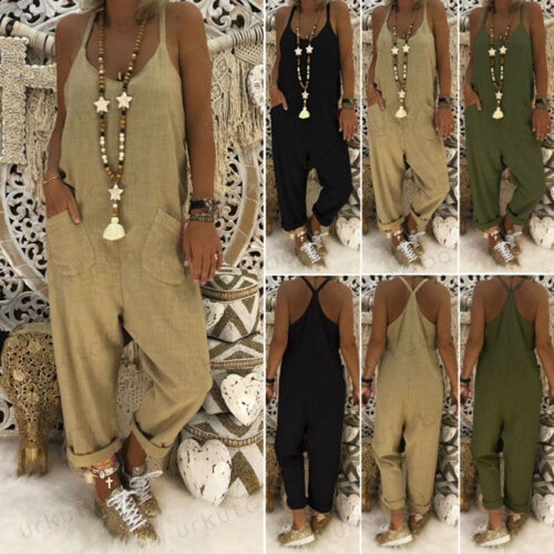 2019 New Brand Fashion Women's Casual Loose Linen Cotton Jumpsuit Dungarees Playsuit Trousers Overalls