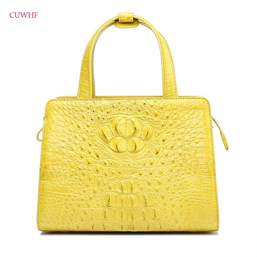 100% True crocodile skin Women Designer Handbags Brand Genuine Leather Women Shoulder Messenger Bag Elegant tote Handbag все цены
