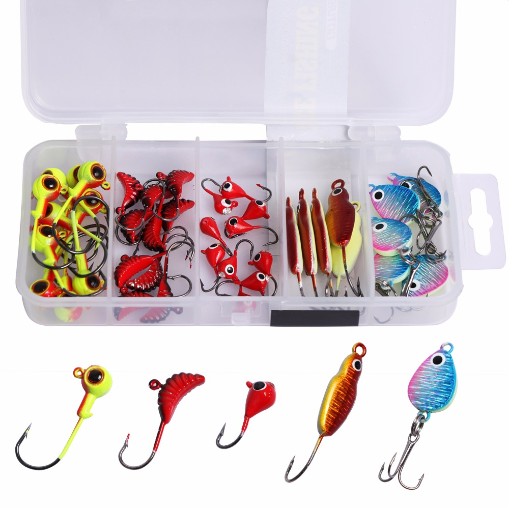 Goture 40pcs winter ice fishing lure set jig for Pike ice fishing lures