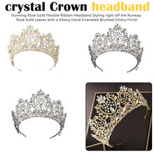 New Vintage Luxury Big European Wedding Tiaras Gorgeous Crystal Large Round Crown Hair Accessories Jewelry