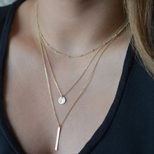 New Fashion Sequins Long Chain Necklace Metal Strip Multi-layer Pendant Clavicle Choker Necklace for Women Collares Jewelry 2018 new simple popular electrocardiogram necklace for women fashion jewelry clavicle chain collares