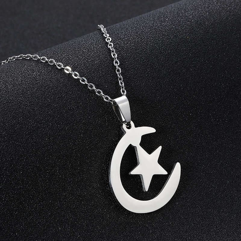 Middle East Arab moon star pendant necklace for stainless steel Men/women Muslim necklace islamic religious jewelry Gift