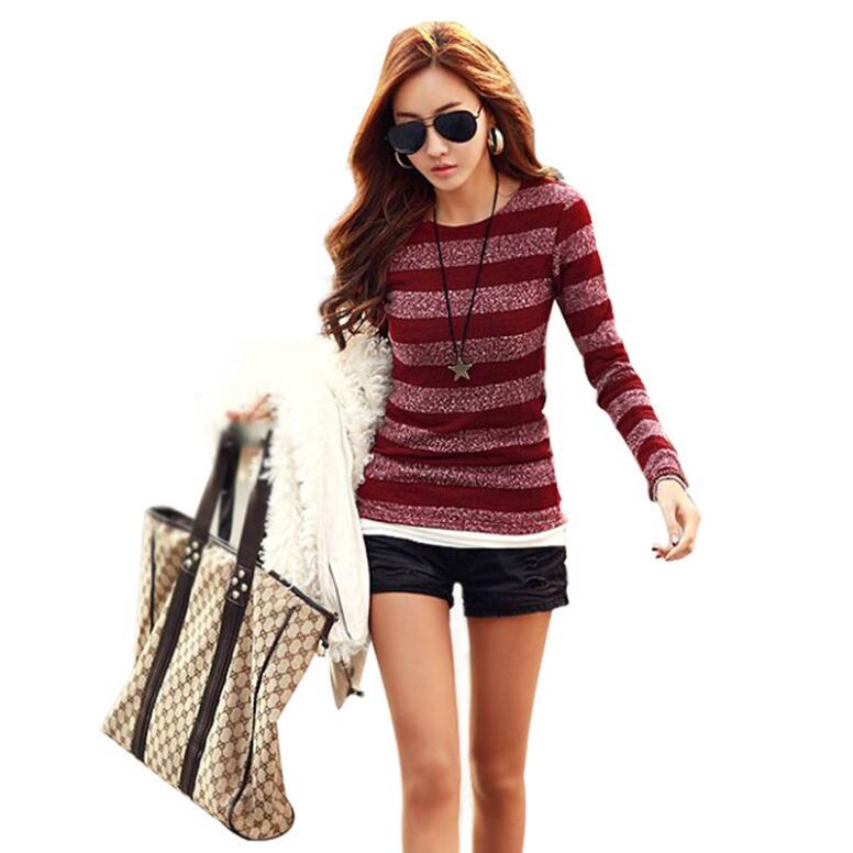 Nuovo autunno e inverno versione Coreana di donne di grandi dimensioni a maniche lunghe T-Shirt stripes lavorato a maglia leggings
