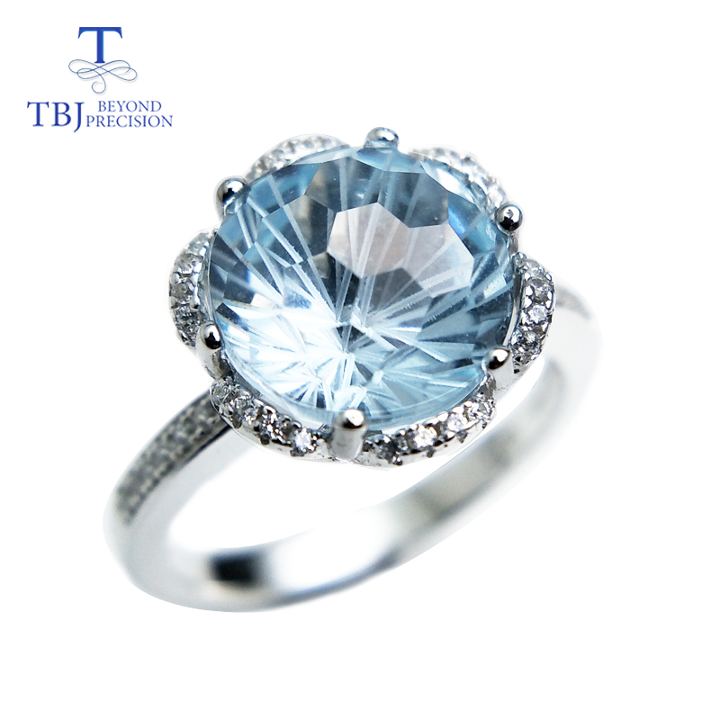 TBJ,Romantic ring with natural sky blue topaz topaz football cut gemstone ring in 925 silver fine jewelry for girls as a gift