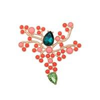 Euro-American Women Brooch Pins Imitation Gemstone Multicolor Branched Big Brooches Vintage Accessories