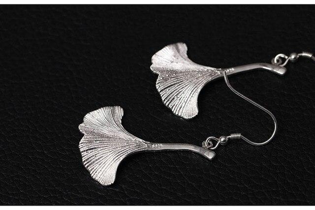 висячие серьги с листьями гинкго из стерлингового серебра 925 фотография
