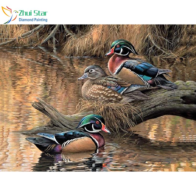 5D DIY Full Square Drill Diamond Painting Cross Stitch Colorful Ducks Rhinestone Diamond Embroidery Mosaic Home Decoration 40x50 cm