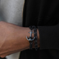 New Design Real Take Steel Anchor Tom Hope Bracelet For Men Triple Black Navigation Anchor Bracelets