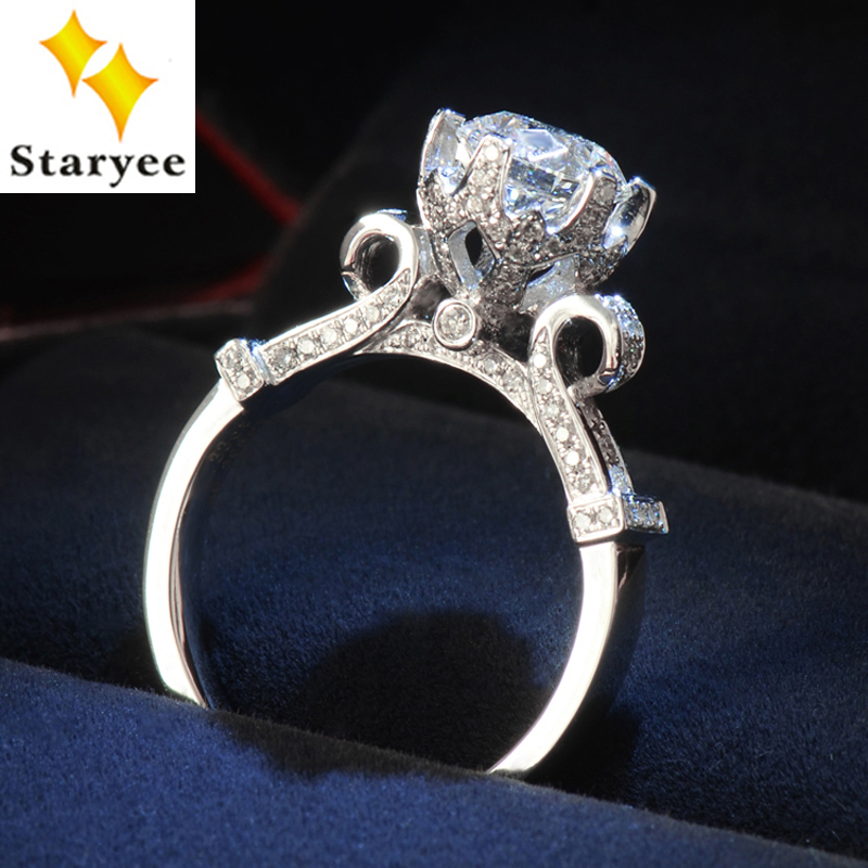 STARYEE Lindo 1 Carat Para Sempre Um Moissanite Anel de Casamento Das  Mulheres de Ouro Real 18 K 750 Sólido Branco Sotaque Diamantes SI H 225e858e2e