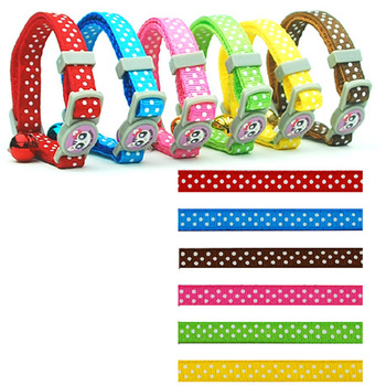 (60 Pieces/Lot)Wholesale 1.0cm Width Nylon Dot Style Dog Cat Puppy Collars with Bells