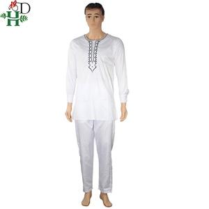 Image 3 - אין כובע אפריקאי בגדי גברים דאשיקי אב בן ילד ילדי חליפות חולצות חולצה צפצף 3 חתיכות סט רקמה לבן אפריקאי mens בגדים