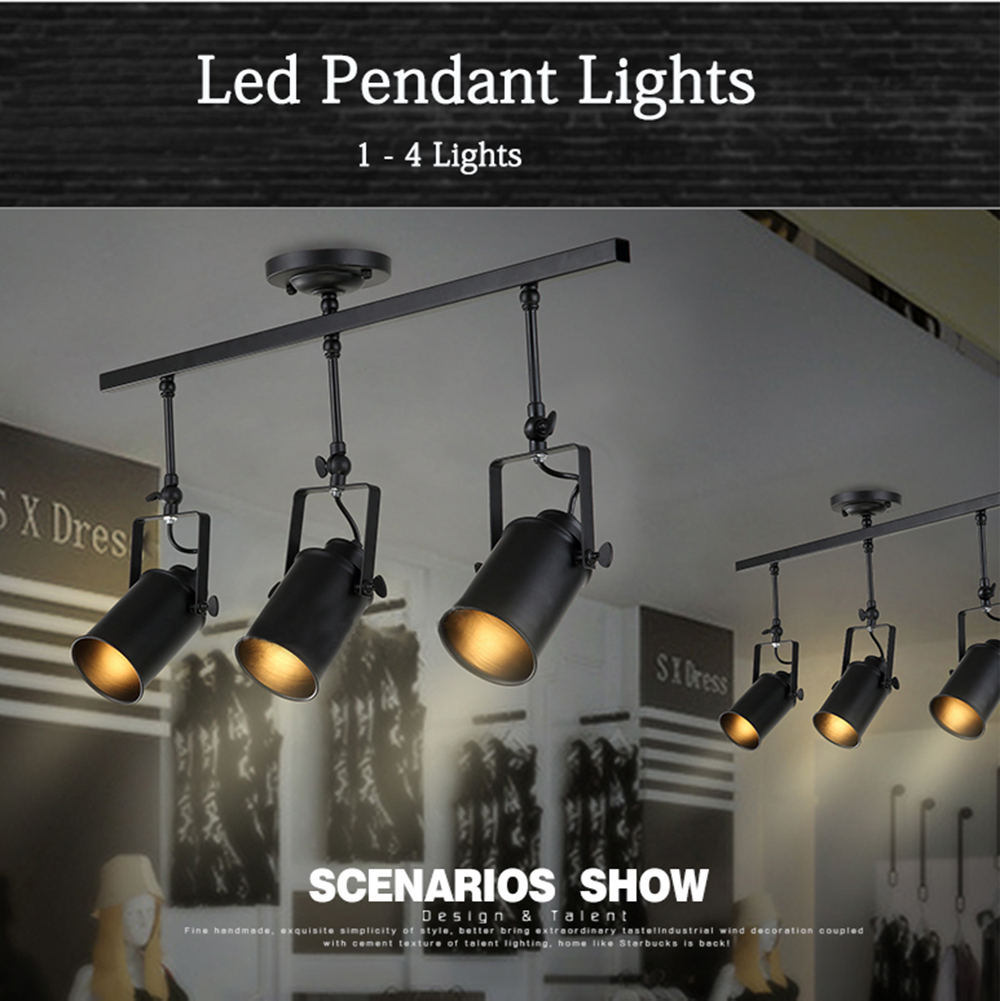 New Black Loft Industrial Pendant Lights Lamp Led Track Lights Vintage Led Spotlights For Kitchen Dinning Room Bar Free Shipping