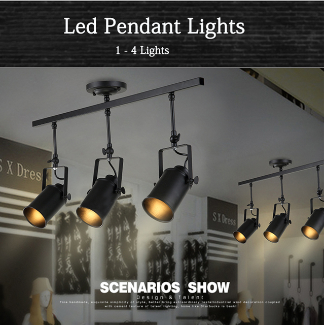 New Black Loft Industrial Pendant Lights Lamp Led Track Lights Vintage Led  Spotlights For Kitchen Dinning