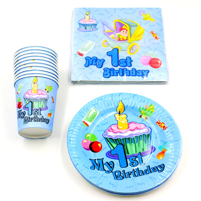 60PC Lot My 1st Birthday Theme Party Decoration Candles Pattern Plates Kids Boys Favors Baby