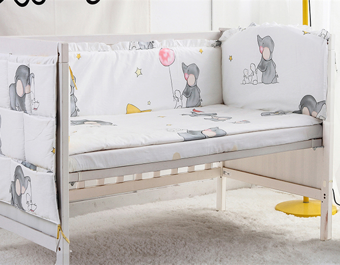 5PCS Baby Bedding Set Cotton Nursery Bedding Cot Bumper Cartoon Pattern Baby Bumper Bed Around,(4bumpers+sheet)