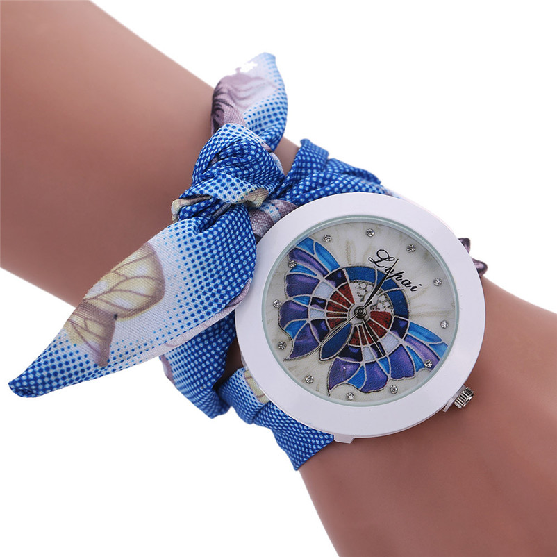 Ladies Flower Scarves Bracelet Watches Women Fashion Diamond Crystal Quartz Wrist Watch Woman Leisure Clock Reloj