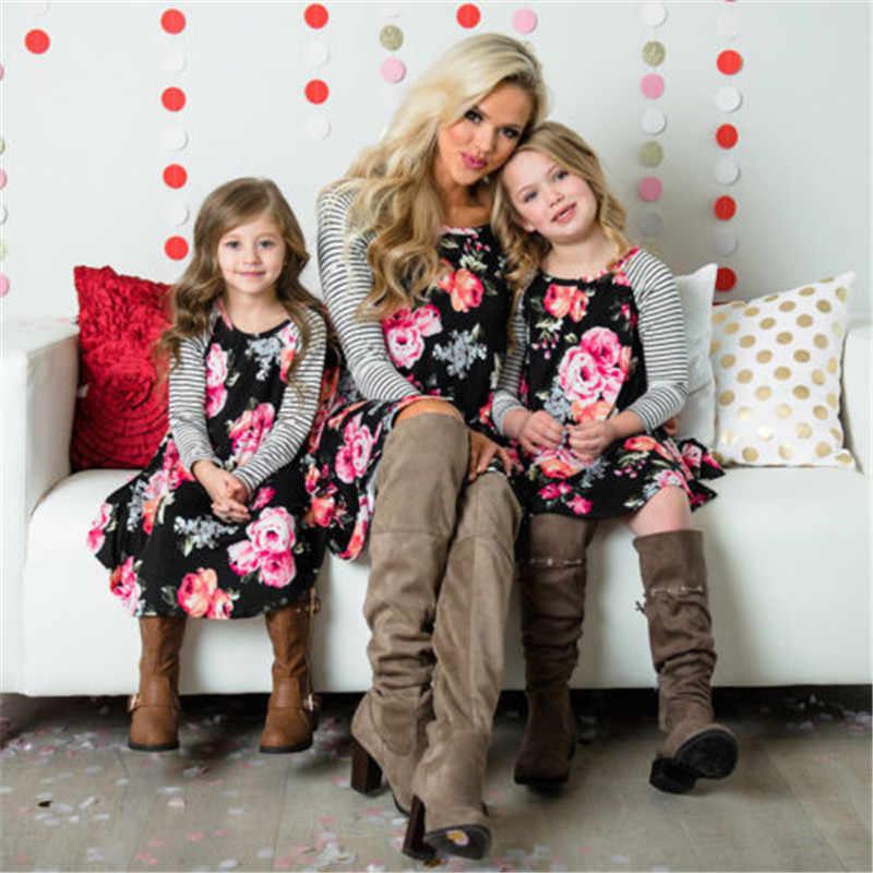 Ibu dan anak Floral Dress Pencocokan Ibu Dan Saya Wanita Gadis Anak Kasual Pakaian Keluarga