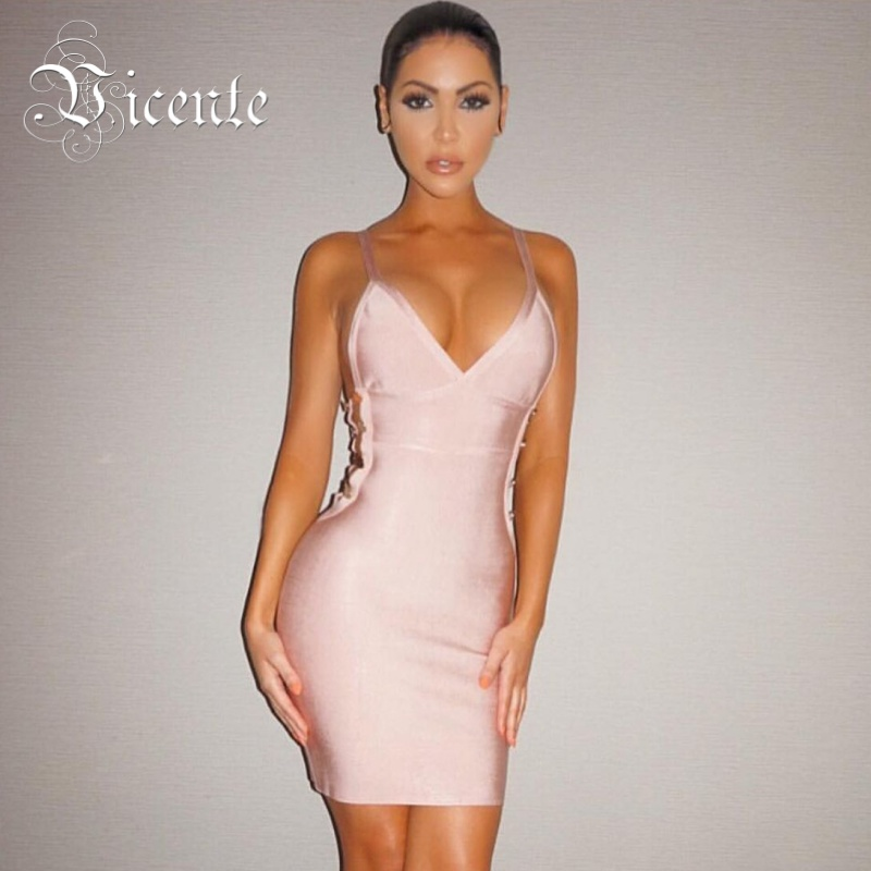 Vicente 2018 New HOT Chic Inspired Button Embellised Hollow Side Vneck Celebrity Party Style Wholesale Bandage Dress