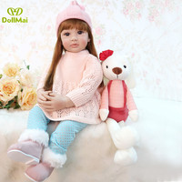 60cm Girls Princess Doll Realistic Soft Silicone Doll Reborn Baby Dolls Lifelike Vinyl Girl Toddler Dolls Toys for Children Gift