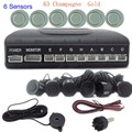 1 Set  6 Parking Sensors Backup System Car Parking Reverse round shape sound alert buzzer 44 colors Available