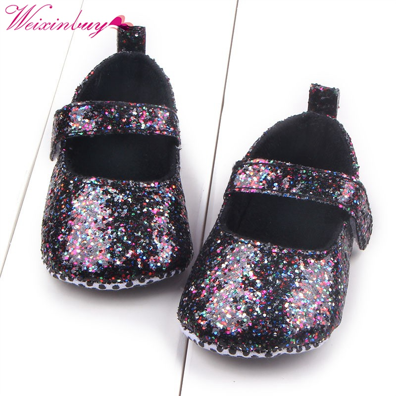 First Walker Baby Shoes Toddler Shoes 2018 Baby Girls Sequin Infant Soft Sole Shoes Soft Bottom Girls Shoes M2