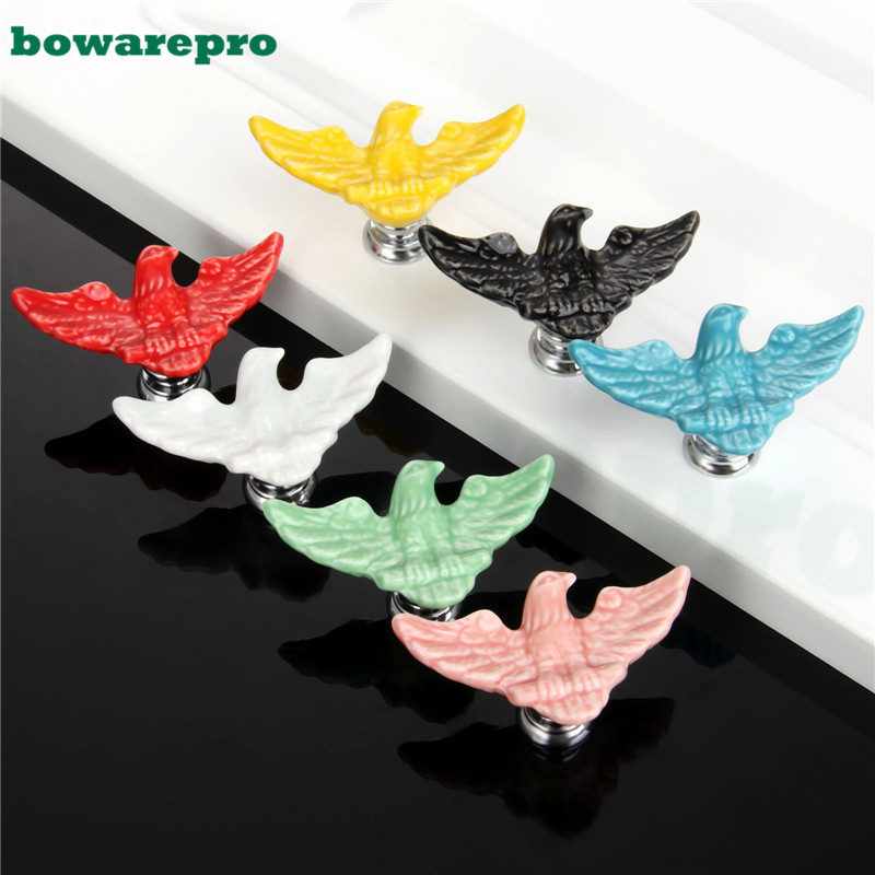 7Pcs Cartoon Handles Eagle Cabinet Knobs and Handles Ceramic Door Knob Cupboard Drawer Kitchen Pull Handle for Children Room