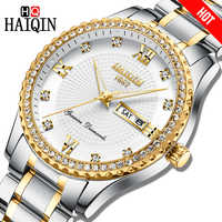 Haiqin Top Brand Men Watches Quartz Diamond trim Luxury Male WristWatch Military waterproof Sports Chronograph Relogio Masculino