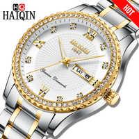 Haiqin Top ยี่ห้อผู้ชายนาฬิกาควอตซ์เพชร trim Luxury นาฬิกาข้อมือชายทหารกีฬากันน้ำ Chronograph Relogio Masculino