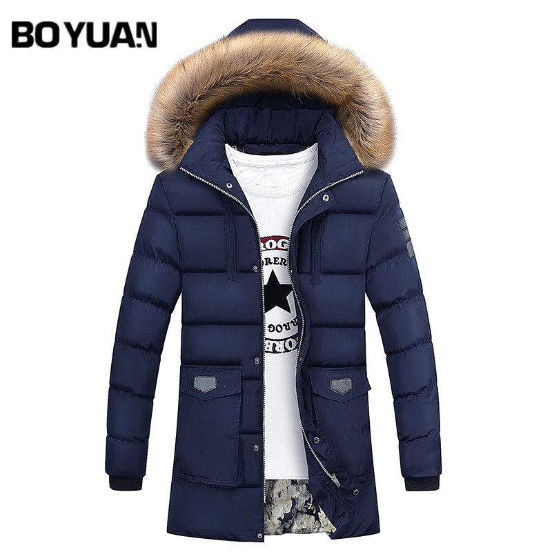 BOYUAN Parka Winter Jacket Men Coat Mens Winter Jackets Thick Fur Hooded Long Casual Fashion Jackets Men 2017 Winter Coat 7091