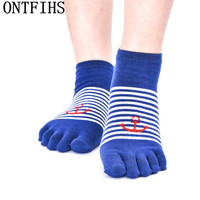 5 Pairs Personality Fashion Unisex Socks Deodorant Sweat Breathable Split Toe Socks Cotton Fingers Socks Men