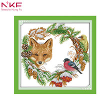 The fox and the garland Chinese print pattern cross stitch embroidered needlework diy kits counting on canvas sets 14CT