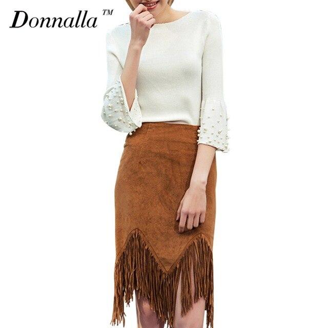 Donnalla Women Sweaters 2017 New Design Flare Sleeve Beading Slim Pullovers Tops Autumn Spring Ladies Knitting Sweater