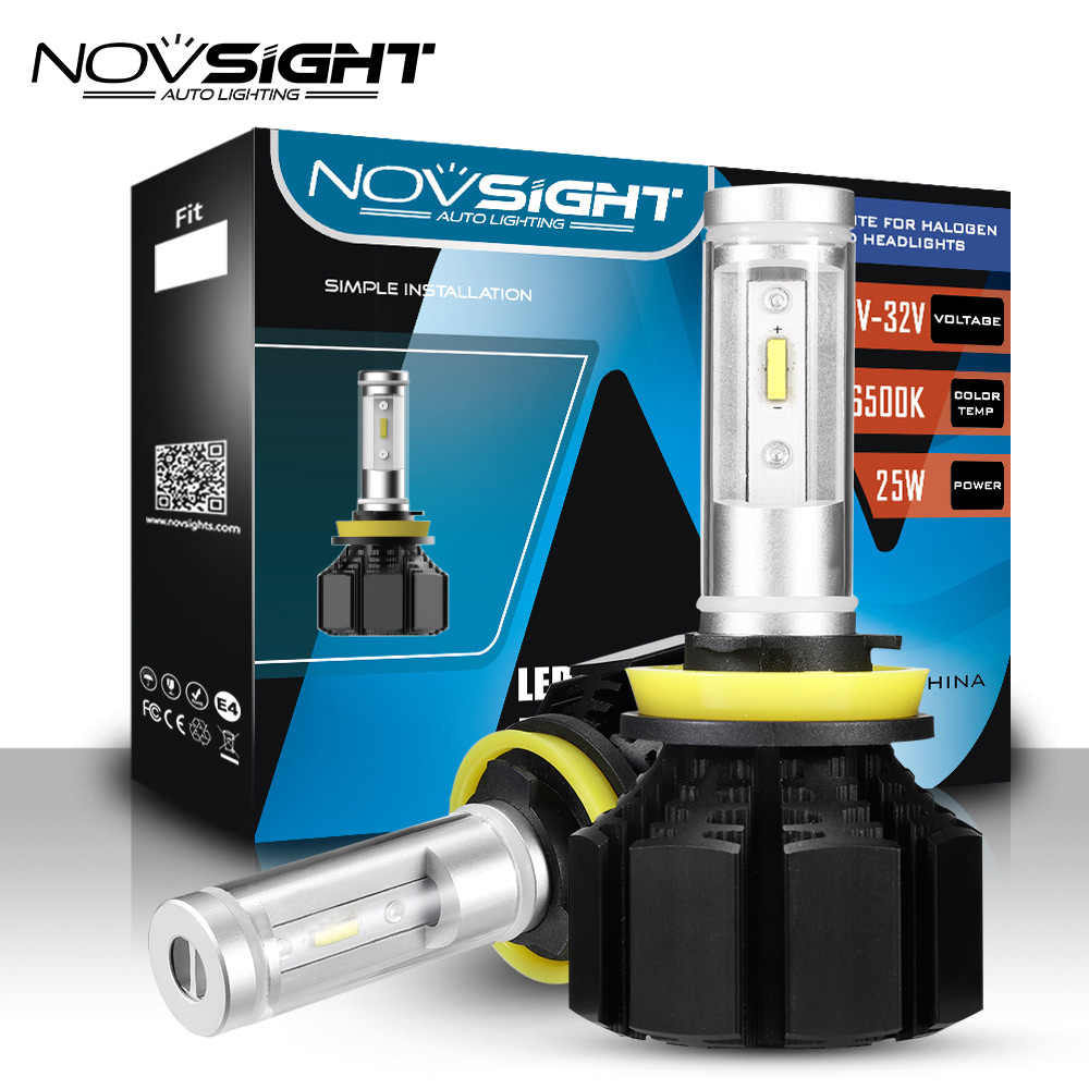 NOVSIGHT H11 LED Car Headlight H4 H1 H3 H7 H13 H15 9005 9006 9007 D1 50W 12000lm 6500K Auto Headlamp Fog Light Bulbs