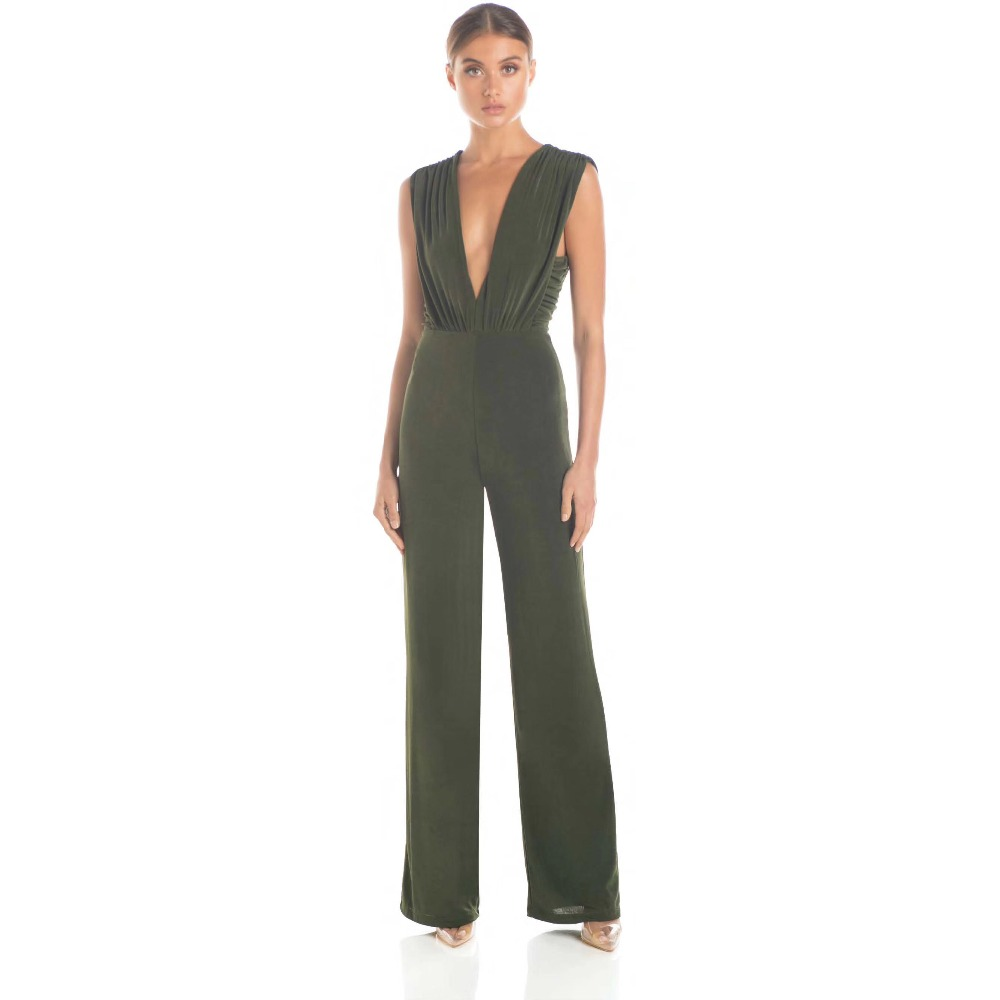 2019 Straight Jumpsuit Sexy Hollow Out Backless Deep V Neck Women Bandage Night Club Party Sleeveless Bodysuit Elegant Jumpsuit