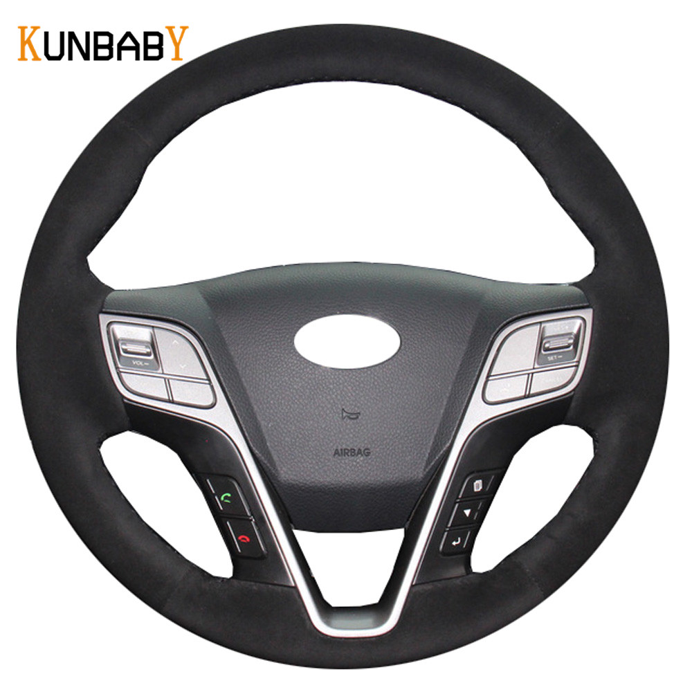 KUNBABY Car Styling Suede Hand Stitched Car Steering Wheel