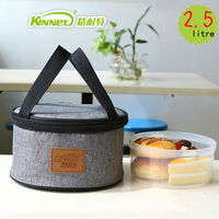KinNet Portable Lunch Box Lunch Bag Small Circular Waterproof Cooler Bag Oxford Fabric Aluminum Foil Lining