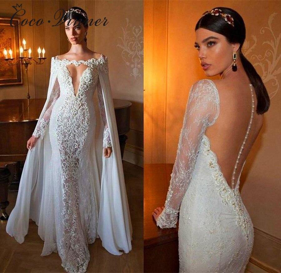 Long Sleeve Vintage V Neck With Wrap Mermaid Wedding Dress New Ivory Illusion Dubai Wedding Dresses Bridal Gown W0266