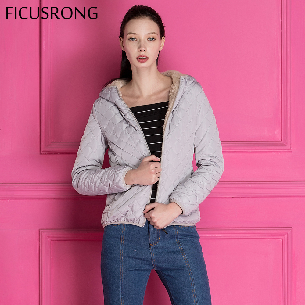 FICUSRONG 2018 New fashion gray warm women winter hooded coat Long fleece thin slim spring basic jacket Female outerwear parkas