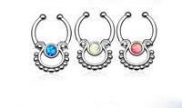 Nie Przekłuwanie Fałszywy Przegroda Clicker Nose Ring Gems Fałszywe Przekłuwania Nosa Pierścień Ze Stali Nierdzewnej Fałszywy Przegroda Clicker Nose Biżuteria 6 sztuk