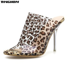 TINGHON PVC Women Slippers Leopard Print Heels Pointy Toe Stiletto 11CM Mules Summer Shoes Female Outdoor