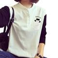 S-3XL plus size hit color buttons t shirt women long sleeve v neck korean harajuku student basic shirt tops autumn t-shirt