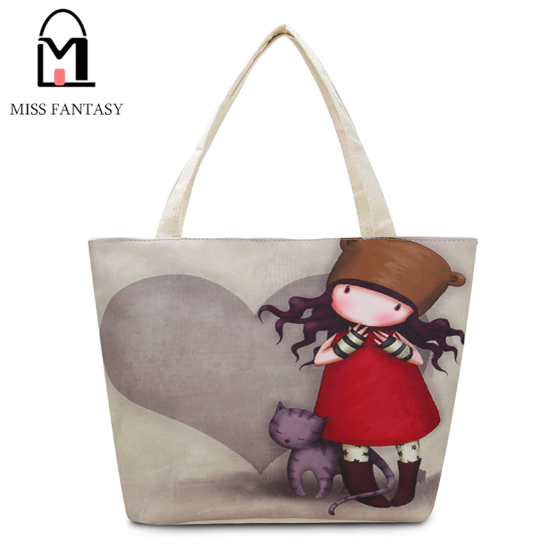 Fashion Girl Printed Canvas Tote Female Casual Beach Bag Large Capacity Women S