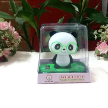 Retail Package New Style Shaking Head  Under Full Light  No Battery Novelty  Green Scooter Glasses Toy Solar Powered Panda